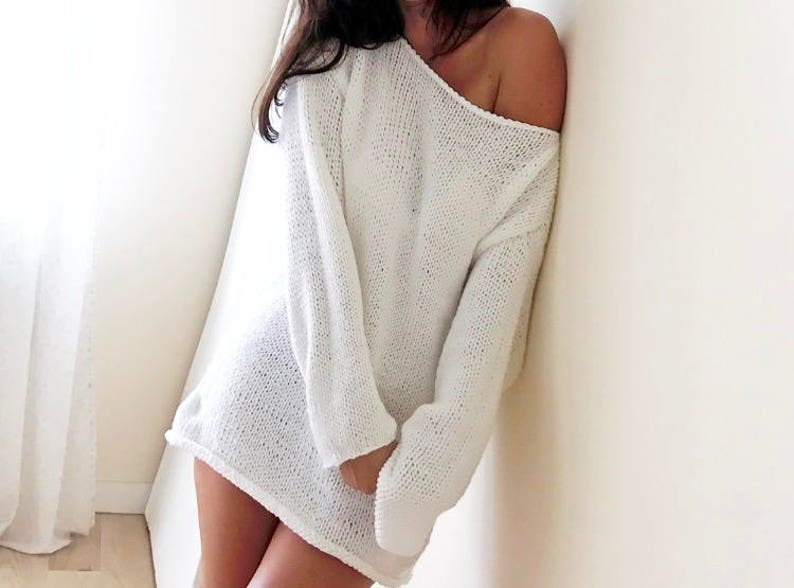 Oversized White Chunky Sweater White Big Sweater Loose  667b1d26d