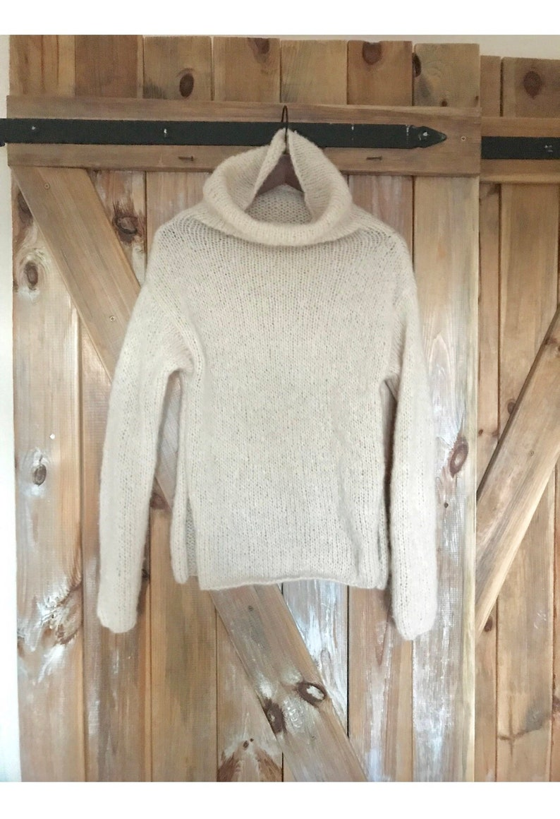 95e776961 Creamy Silk-Alpaca Turtleneck Cozy Sweater Creamy Sweater