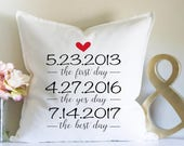 Wedding Gift, Anniversary Gift, Personalized Pillow, Custom Dates Gift, First Day, Yes Day, Best Day, Engagement Gift, Bridal Shower, Pillow