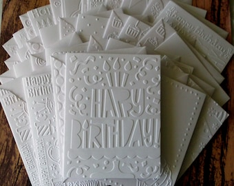 Birthday Card Set Of 18 Assorted White Embossed Cards Greeting Variety Pack Blank