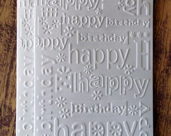 Birthday Cards Set Of 5 White Embossed Happy Card Pack Blank Greeting Gifts Flowers