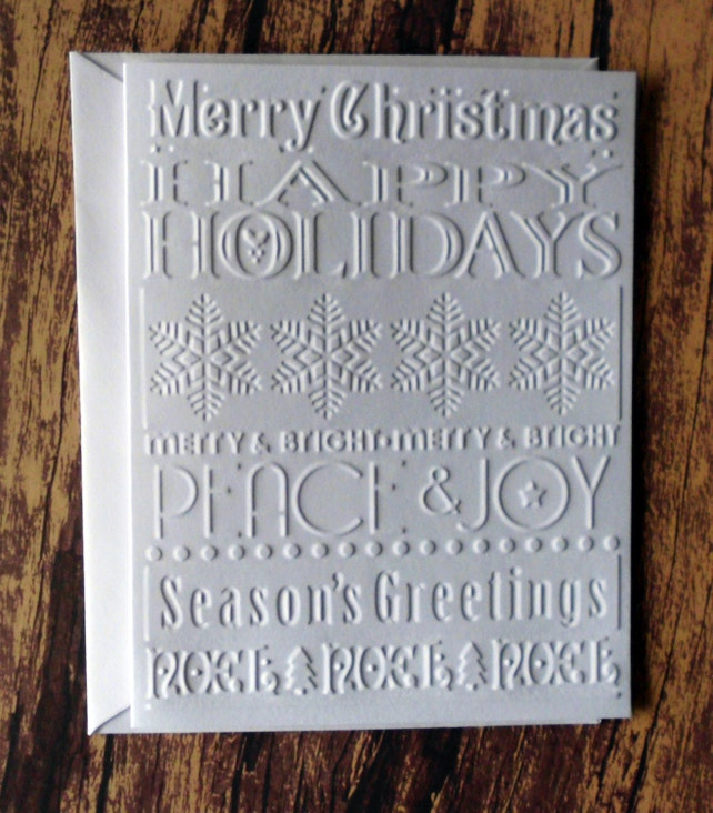 Embossed Christmas Cards, Set of 10, Christmas Sentiment Greeting Cards, Merry Christmas, Season's Greetings, Happy Holidays, Peace, Joy