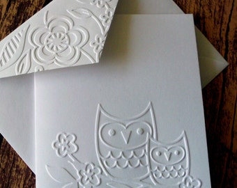 Owl Note Cards, Set of 5, Greeting Cards, White Embossed Cards, Blank Note Cards, Owl Stationery Set, Gift for Owl Lovers, Autumn, Fall Card