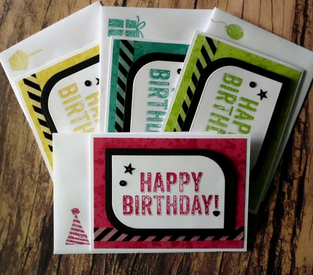 Birthday Card Assortment Set Of 4 Blank Stampin Up Cards Watercolor Greeting Stamped Happy Variety Pack