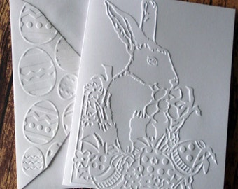 Easter Bunny Cards, Set of 5, Embossed Easter Greeting Cards, Blank Note Card Set, White Embossed Easter Rabbit Cards, Blank Stationery Set