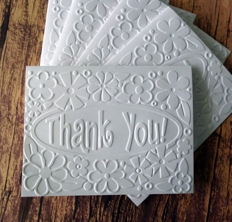 Set of 5 Flower Thank You Cards Wedding Thank You Cards Thank You Cards Graduation Thank You Cards Embossed Thank You Greeting Cards