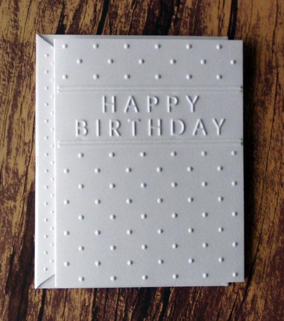 Birthday Cards Set Of 5 White Embossed Birthday Card Set Etsy