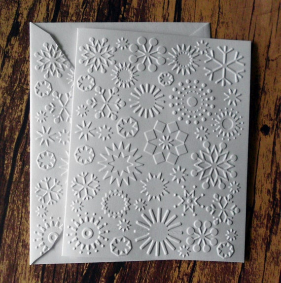 10 embossed snowflake cards winter stationery white embossed etsy