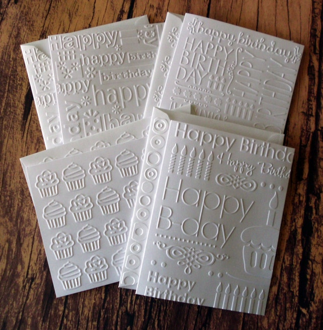 Birthday Card Set Of 14 Assorted White Embossed Cards Greeting Variety Pack