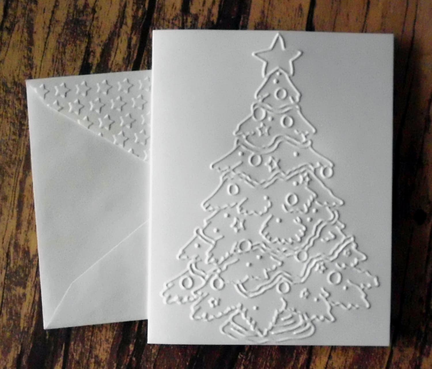 Christmas Tree Cards Set of 5 White Embossed Christmas Card | Etsy