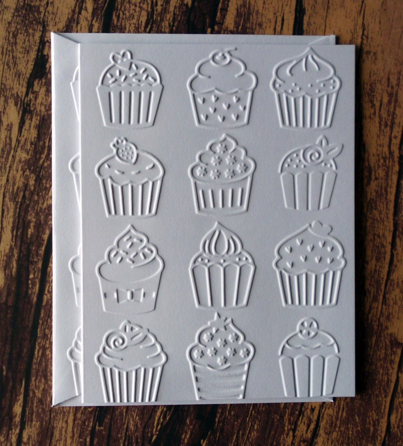 White Cupcake Cards Cupcake Lover Assorted Cupcake Cards Set of 5 Embossed Cupcake Cards Gift for Baker Greeting Cards Birthday Cards