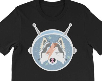 LAIKA the SPACE Pup / Space Travel and Bowie Inspired Husky Art Short-Sleeve Unisex T-Shirt