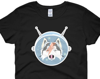 LAIKA the SPACE Pup / Space Travel and Bowie Inspired Husky Art Women's short sleeve t-shirt