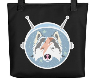 LAIKA the Cosmonaut / David Bowie / Aladdin Sane Inspired / Space pup Art Tote bag