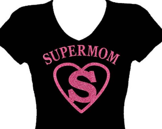 590d63277 ... Bling Tee Shirt $24.99 Super Mom glitter Rhinestone Mothers Day V Neck  Short Sleeve Tee Shirt