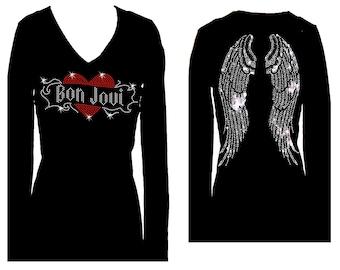 20afe7fa7c9 Bon Jovi Angel WIngs Rhinestone Bling V Neck Long Sleeve Womens Tee Shirt