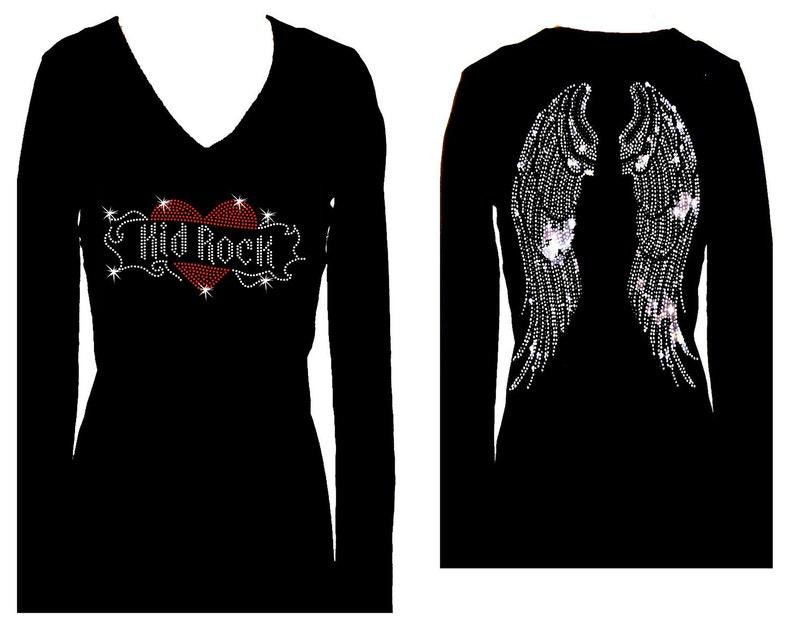 d2c77e33c Kid Rock Angel Wings Rhinestone V Neck Long Sleeve Womens | Etsy