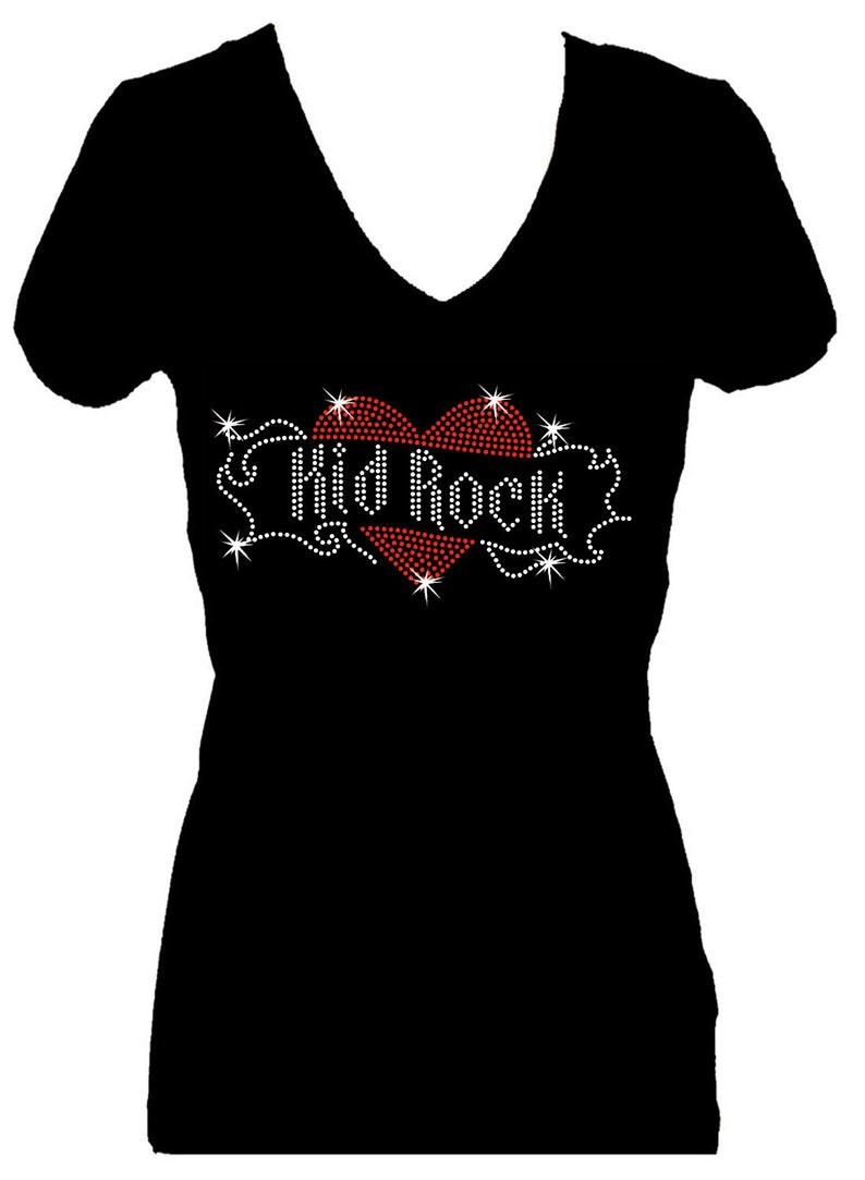 3f916a312 Kid Rock Angel WIngs Rhinestone Bling V Neck Short Sleeve | Etsy