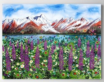 Lupine, Ocean, Mountain Wall Art, Top Selling, Home Decor, Colorful, Art Print, Painting, Alaska, Canvas or Metal, Ready to Hang
