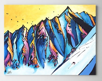 Skier, Snowboarder, Mountain Wall Art, Top Selling, Home Decor, Colorful, Fine Art Print, Painting, Alaska, Canvas or Metal, Ready to Hang