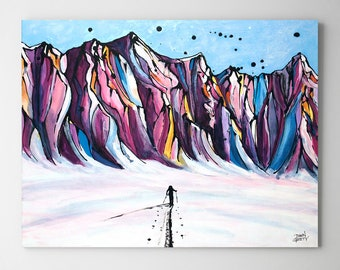 Ski Art, Backcountry, Mountain Wall Art, Top Selling, Home Decor, Colorful, Fine Art Print, Painting, Alaska, Canvas or Metal, Ready to Hang