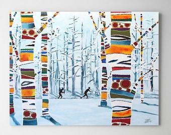 Ski Wall Art, Top Selling, Home Decor, Colorful, Art Print, Alaska, XCanvas or Metal, Ready to Hang, Nordic Ski, Country