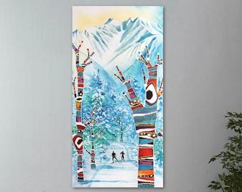 Mountain Wall Art, Top Selling, Home Decor, Colorful, Art Print, Painting, Alaska, Canvas or Metal, Ready to Hang, Nordic Ski, Winter