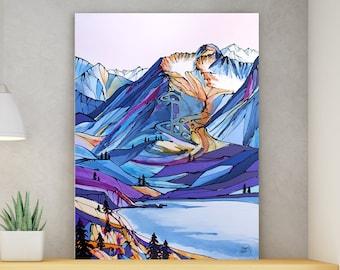 Mountain Wall Art, Top Selling, Home Decor, Colorful, Fine Art Print, Painting, Alaska, Canvas or Metal, Ready to Hang, Alyeska, Girdwood