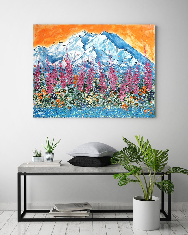Denali Fireweed Mountain Wall Art Top Selling Home Decor image 0