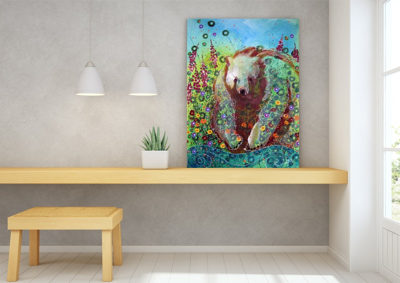 Grizzly Bear Wildlife Wall Art Top Selling Home Decor image 1