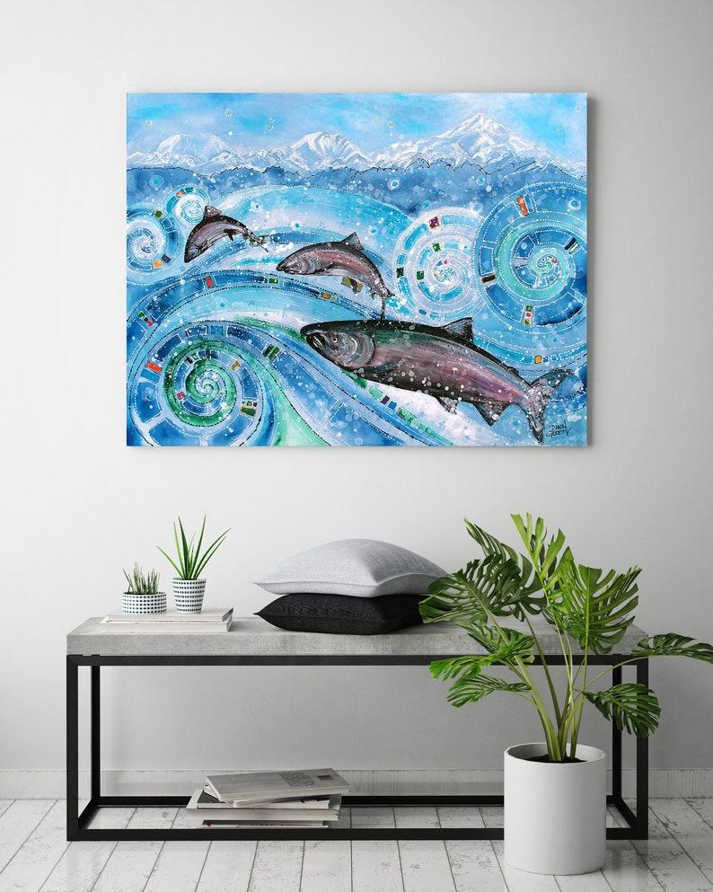 King Salmon Chinook Wildlife Wall Art Top Selling Home image 0