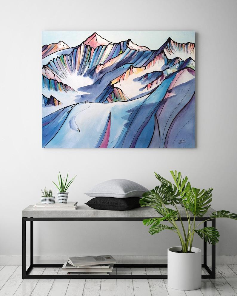 Ski Art Snowboarder Mountain Wall Art Top Selling Home image 0