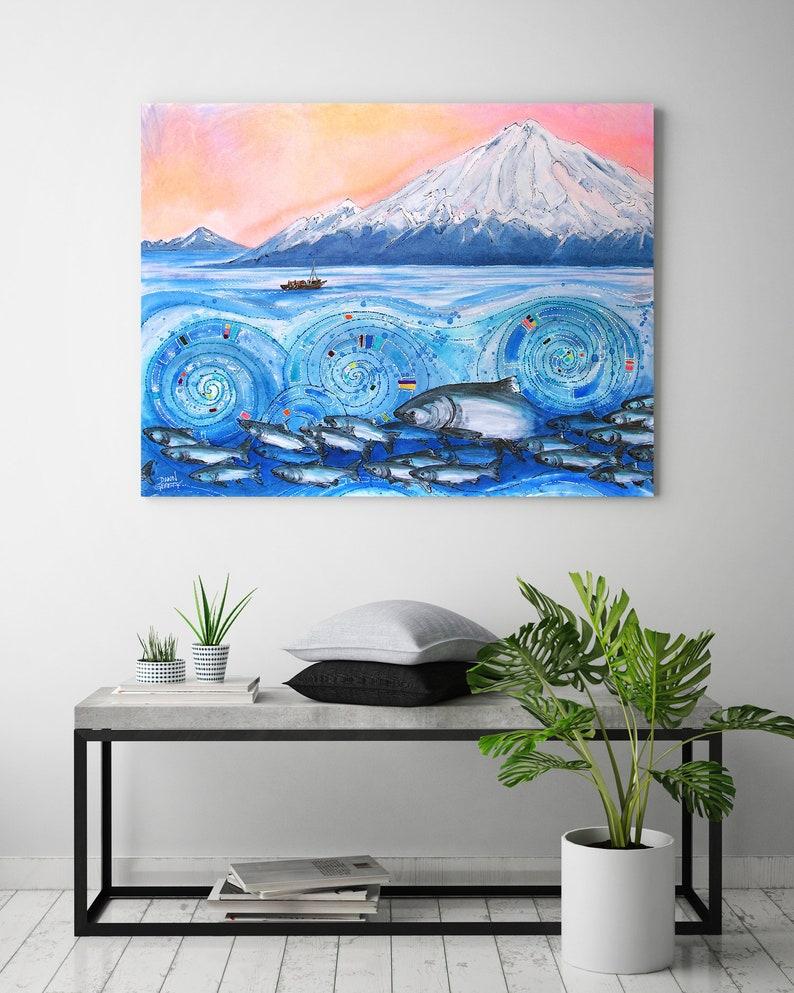 Salmon Fishing Wildlife Wall Art Top Selling Home Decor image 0