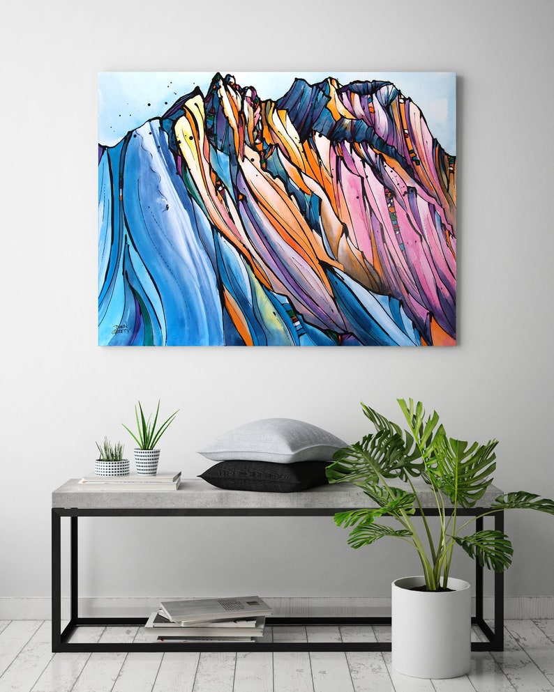 Skier Snowboarder Mountain Wall Art Top Selling Home image 0