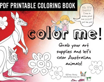 PDF Coloring Book Australia Animals, Digital, Instant Download, All ages, Activity Book, Learning, Jokes, Gift, Fun for Kids