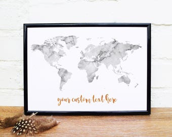 World map quote etsy marble world map wall art custom quote print marble texture marble wall art black and white quote wanderlust map personalised poster uk gumiabroncs Gallery