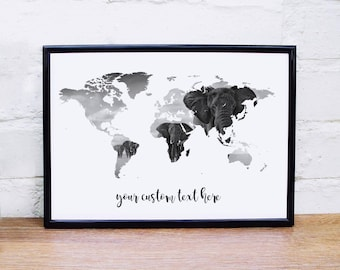Map coordinates etsy elephant poster world map wall art custom quote elephant print black white wall art poster wanderlust map personalised world map poster gumiabroncs Images
