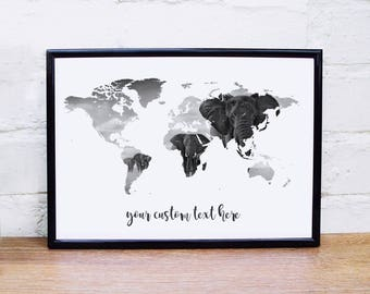Map coordinates etsy elephant poster world map wall art custom quote elephant print black white wall art poster wanderlust map personalised world map poster gumiabroncs