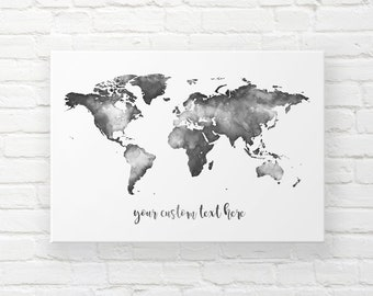 Black And White World Map Wall Art, Canvas Travel Map With Pins, Monochrome  Watercolour Wall Map Mural, Custom Map Art, Housewarming Gift