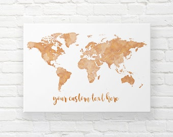 World map canvas etsy gold world map canvas pin travel map world map wall hanging world map push pin wedding map canvas custom travel map places youll go gumiabroncs Gallery