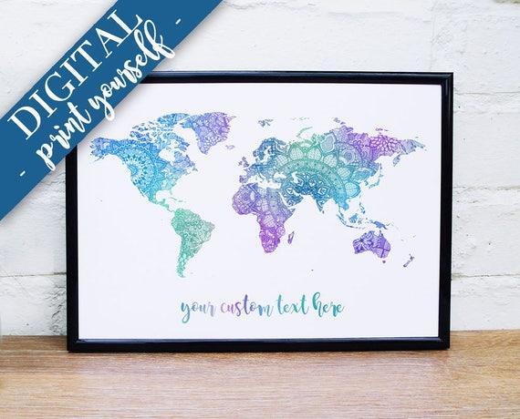 Carte Du Monde Numérique Mandala Carte Personnalisée Impression Bleu Vert Violet Mandala Carte Murale Téléchargeable Imprimable Mappemonde Carte