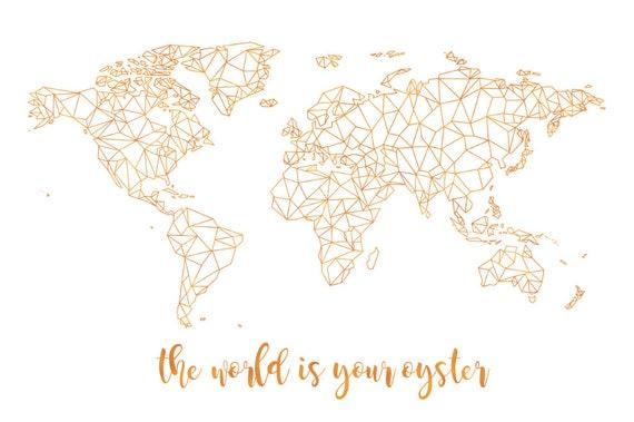 Carte Du Monde Géométrique Art Mural Géométrique Or Carte Du Monde Or Carte Du Monde Carte Or Impression Carte Personnalisée Carte De Mariage