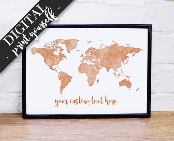 Gold World Map Poster.Digital Gold World Map Poster Download Printable Map Etsy