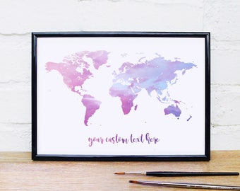 Pink and Blue Wall Art World Map Print Travel Poster Travel Print World Map Wall Art Pale Pink Wall Decor Light Pink Travel Map Quote Print