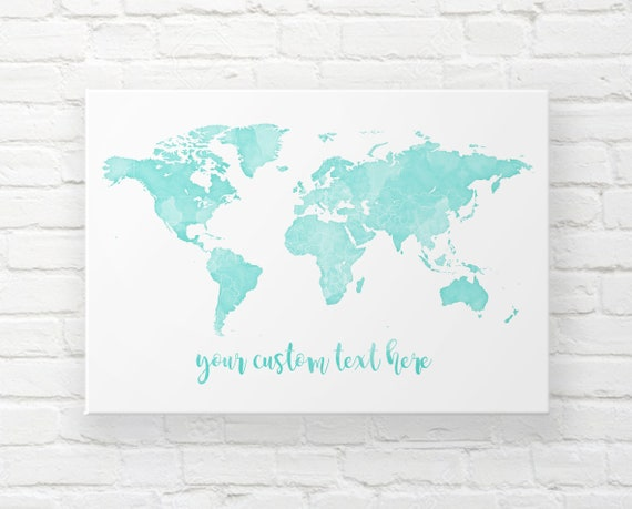 Mint World Map Canvas, Mint Nursery Map Decor, Large World Map, Travel Map,  Wedding Map, Personalised Map, Watercolour Map, Painted Map