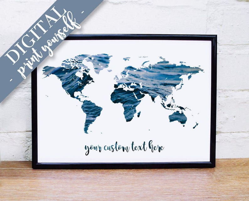 Digital World Map Print, Download Ocean Quote, Surfing Quote, Custom on