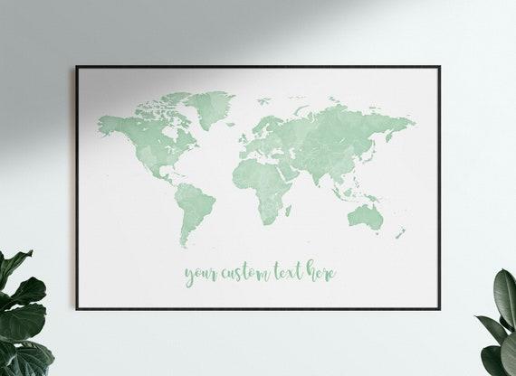 Pastel Green Watercolour Green Nursery Neutral Nursery Print Custom Travel Map Art Sage Green World Map Wall Art Pale Green Wall Decor
