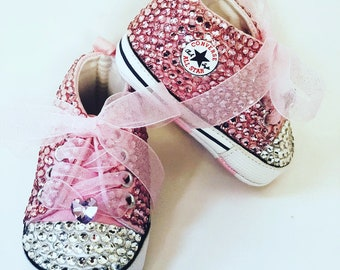 fb91e30193c3 Baby Converse Chucks -Bedazzled Bling Baby Shoes - Pink
