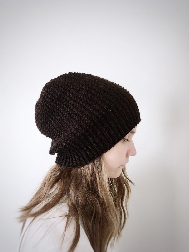 2c3444daf77 Womens Beanie Hat for Fall and Winter in Dark Coffee Brown