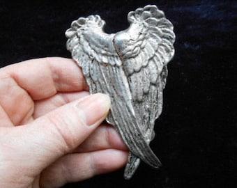 Crossed wings pin, Angel Pin, artist signed, Yunque, vintage brooch, angel wing, 1980, vintage, guardian angel, spiritual, large vintage pin